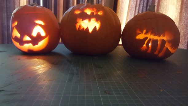 The results of our pumpkin carving